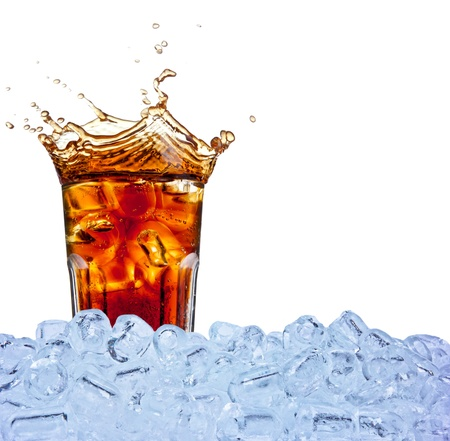soft drink: Cola drink with ice cubes, isolated on white background Stock Photo