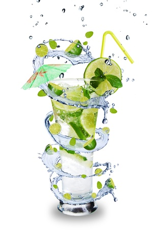 Fresh mojito drink with splash spiral around glass. Isolated on white background  Stock Photo - 19554323