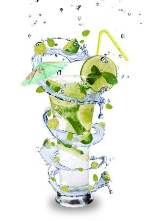 soda splash: Fresh mojito drink with splash spiral around glass. Isolated on white background