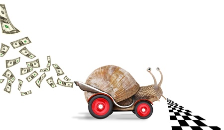 race start: Speedy snail like car racer. Concept of speed and success. Wheels are blur because of moving. Isolated on white background