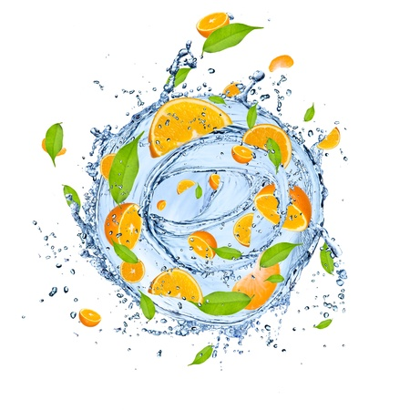 Fresh oranges falling in water splash , isolated on white background  photo