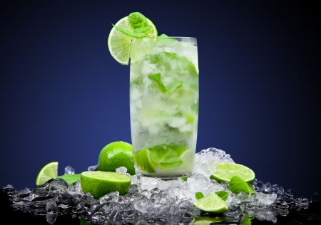 Fruit cocktail with dark background Stock Photo - 19554390