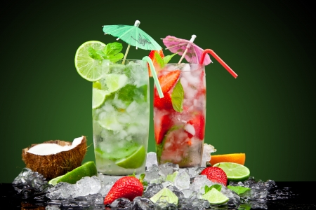 Fruit cocktail with dark background Stock Photo - 19554469