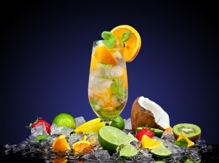 Fruit cocktail with dark background Stock Photo - 19554373