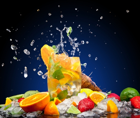 drink and food: Fruit cocktail with dark background Stock Photo