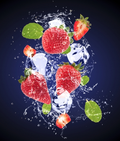 Isolated shot of fresh strawberries with ice and water Stock Photo - 19555376