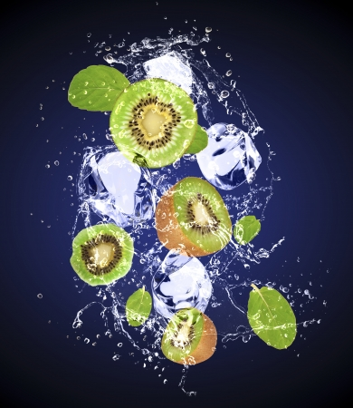 Isolated shot of fresh kiwi with ice and water Stock Photo - 19555370
