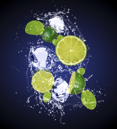 Isolated shot of fresh limes with ice and water Stock Photo - 19555387