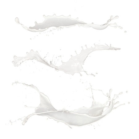 Isolated shots of milk splashes on black background photo