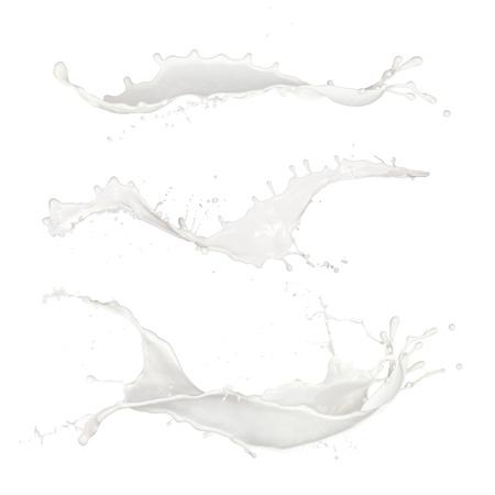 Isolated shots of milk splashes on black background photo