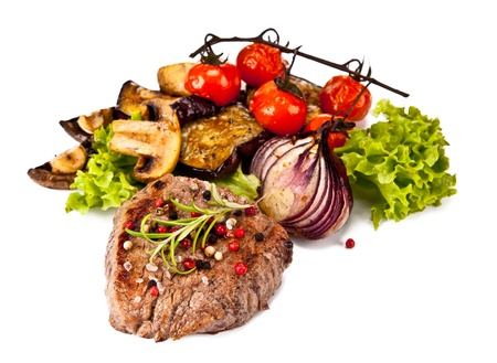 charbroiled: Delicious beef steak isolated on white background Stock Photo