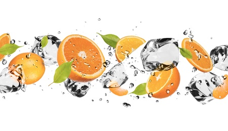 and vitamin: Pieces of oranges with ice cubes, isolated on white background