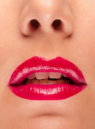 sensual lips: Detail of woman face with red lips