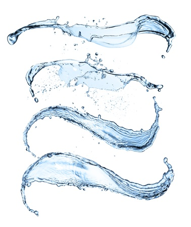 water ripples: Isolated shot of water splashes on white background