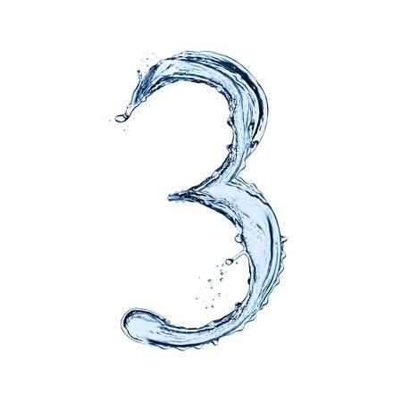 """물이 검은 배경에 고립 된 """"3""""번호 밝아진"""