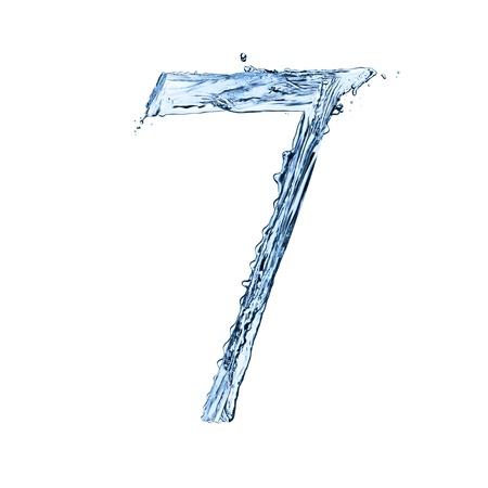 fresh water splash: Water splashes number 7 isolated on black background Stock Photo