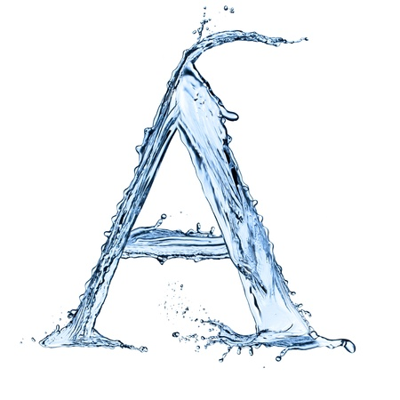 Water splashes letter 'A' isolated on black background photo