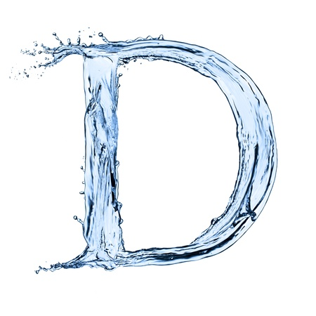 bubble letters: Water splashes letter D  isolated on white background Stock Photo