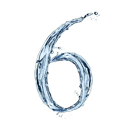 number 6: Water splashes number  6  isolated on white background