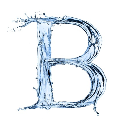 Water splashes letter B  isolated on white background photo
