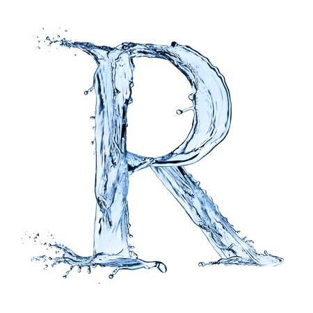 ice alphabet: Water splashes letter on white background Stock Photo