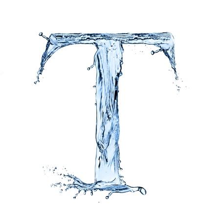 L'acqua spruzza lettera su sfondo bianco Archivio Fotografico - 20634018