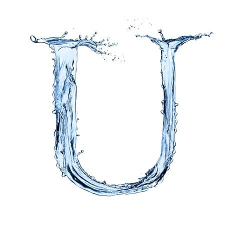 letter liquid water: Carta de salpicaduras de agua sobre fondo blanco