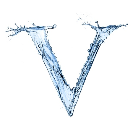 Water splashes letter V isolated on black background photo