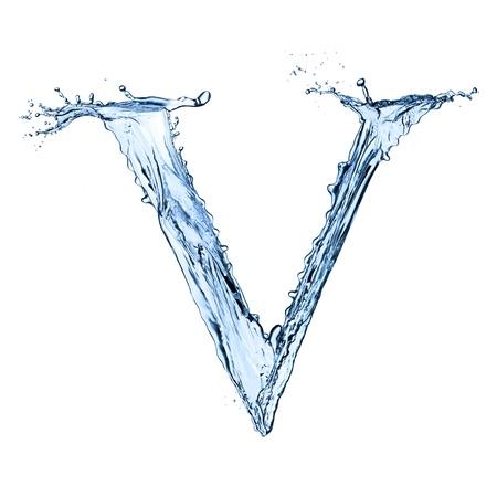 v alphabet: Water splashes letter V isolated on black background