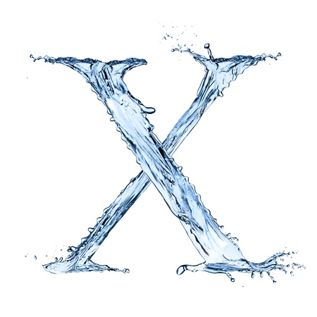 letter x: Water splashes letter X isolated on black background Stock Photo