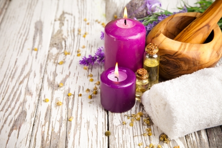 black beauty: Spa still life with lavender on wood Stock Photo