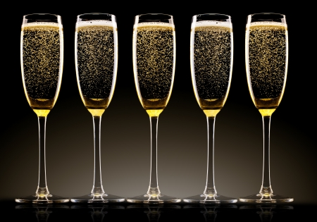 champagne: Glasses of champagne with ribbons