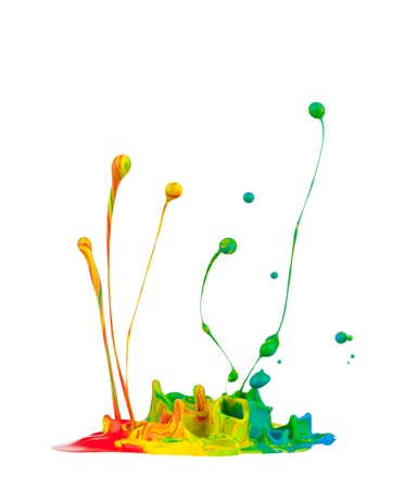 dripping: Colored splashes isolated on white background