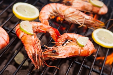 Fresh grilled prawns on fire Stock Photo