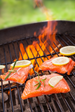 grilled fish: Grilled salmon steaks on fire Stock Photo