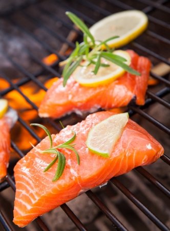 grilled salmon: Grilled salmon steaks on fire Stock Photo