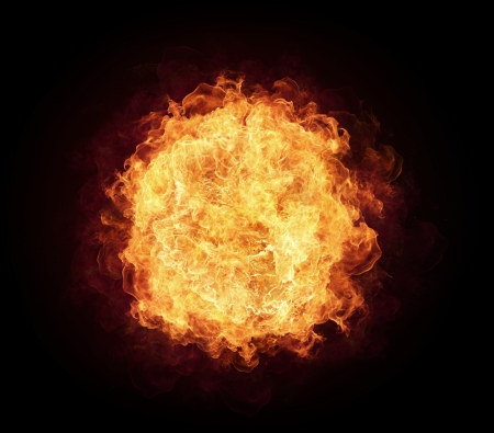 orange inferno: Fire ball with free space for text. isolated on black background
