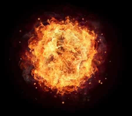 fire circle: Fire ball with free space for text  isolated on black background