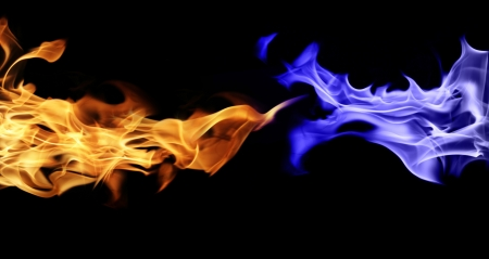 blue flames: Fire and gas isolated on black background