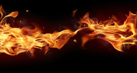 inferno: Fire stripe with free space for text  isolated on black background