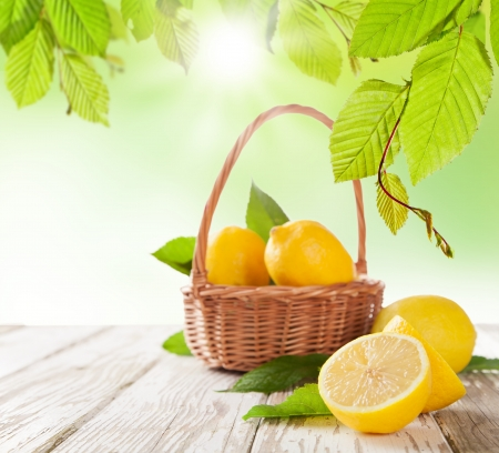 with lemon: Fresh harvested lemons in basket