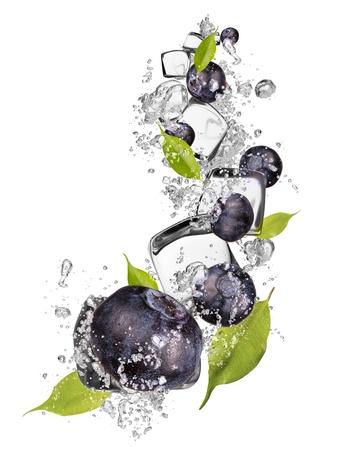 Ice blueberries isolated on white background photo