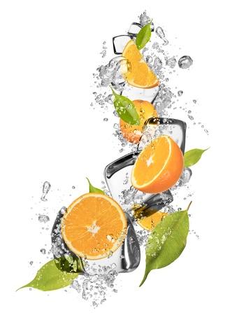 solid food: Ice oranges isolated on white background Stock Photo