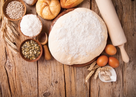 french bread: Various traditional ingredients for preparation of cooking of bread