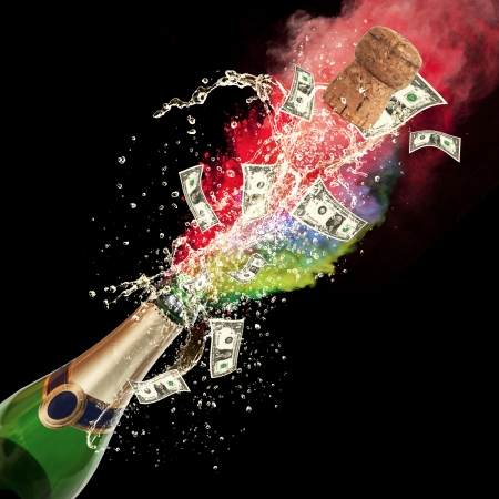 Celebration event with concept of dollar bank-notes splashing out of bottle  Isolated on black background photo