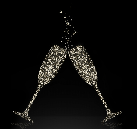champagne glasses: Glasses of champagne made of bubbles, isolated on black background Stock Photo