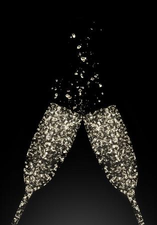 feste feiern: Gl�ser Champagner von Blasen gemacht, isoliert auf schwarzem Hintergrund