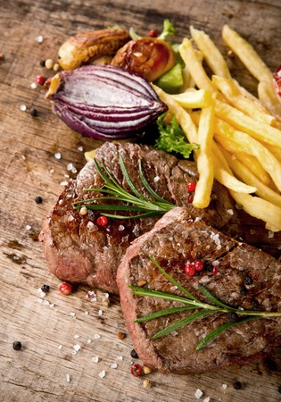 charbroiled: Beef steaks Stock Photo