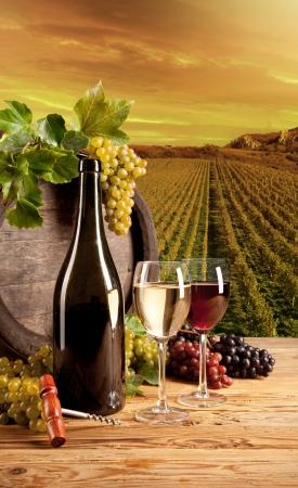 Detail van wijn met vat op wijngaard