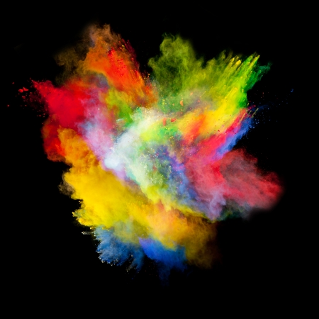 colours: Freeze motion of colored dust explosion isolated on black background Stock Photo